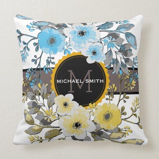Vintage Floral Modern Monogram #6 Throw Pillow
