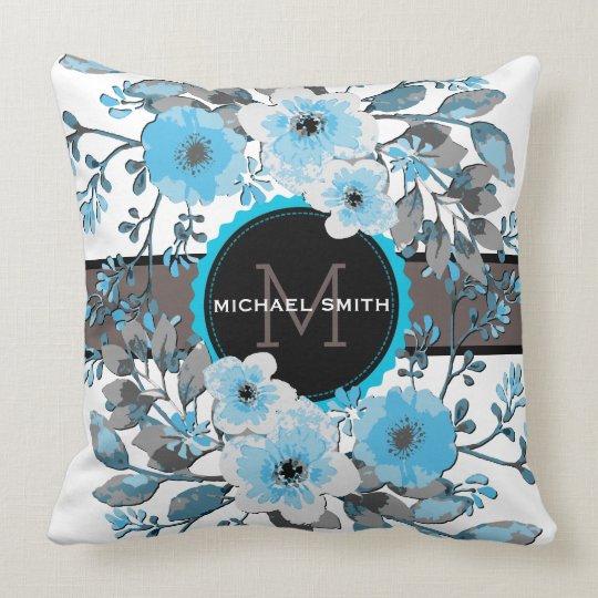 Vintage Floral Modern Monogram #7 Throw Pillow