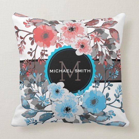 Vintage Floral Modern Monogram #8 Throw Pillow