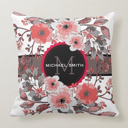 Vintage Floral Modern Monogram #9 Throw Pillow