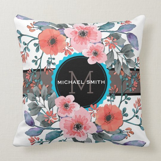 Vintage Floral Modern Monogram Throw Pillow