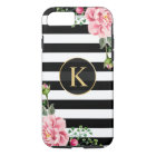 Vintage Floral Monogram Black White Striped Case-Mate iPhone Case