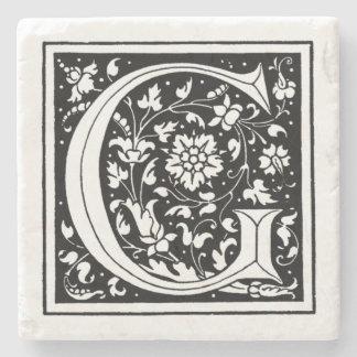 Vintage Floral Monogram 'G' Stone Coaster