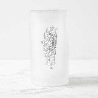 Vintage Floral Monogram I Initial Letter Black 16 Oz Frosted Glass Beer Mug