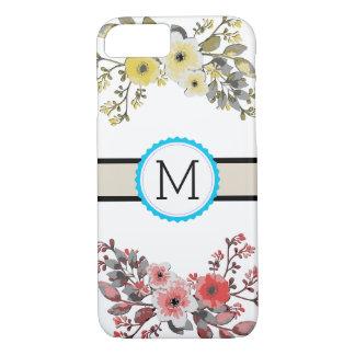 Vintage Floral Monogram Modern Plain White iPhone 8/7 Case