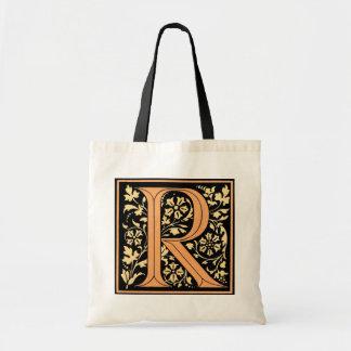 Vintage Floral Monogram 'R' Budget Tote Bag