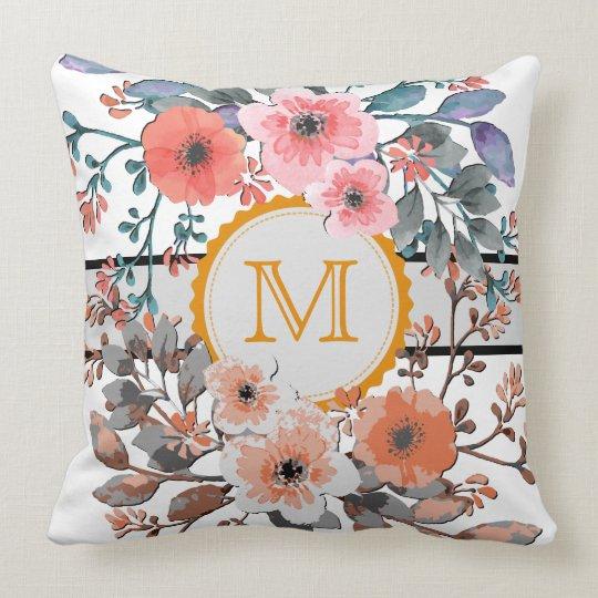 Vintage Floral Monogram Throw Pillow