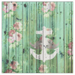 Vintage Floral Nautical Anchor Green Beach Wood Fabric