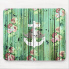 Vintage Floral Nautical Anchor Green Beach Wood Mouse Pad