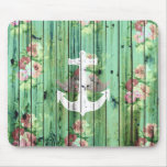 Vintage Floral Nautical Anchor Green Beach Wood Mouse Pads