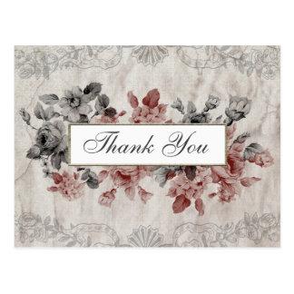 Vintage Floral on Aged Linen Thank You Postcard