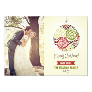 Vintage Floral Ornament Holiday Photo Card