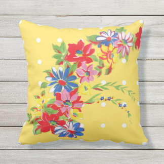 Vintage Floral Outdoor Pillow