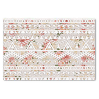Vintage Floral Painting and White Aztec Pattern Tissue Paper