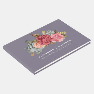 Vintage Floral Painting Anniversary Guest Books