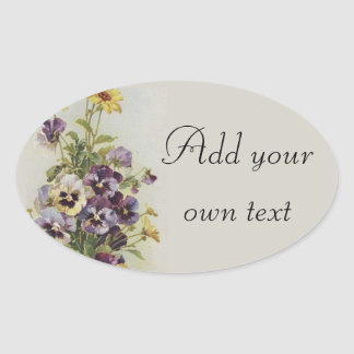 Vintage Floral Pansies Customize Oval Sticker