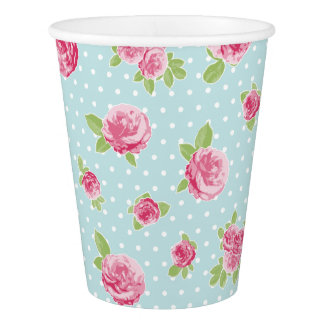 Vintage Floral Paper Cup Shabby Chic Roses
