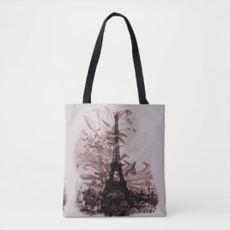 Vintage Floral Paris Eiffel Tower Tote Bag