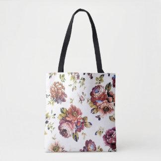 Vintage Floral Pattern All-Over-Print Tote Bag