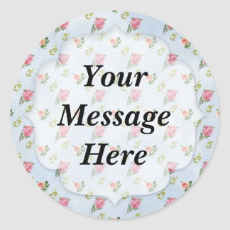 Vintage Floral Pattern - Blue Clouds Classic Round Sticker