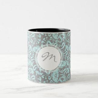 Vintage Floral Pattern Blue Gray Monogram Mug