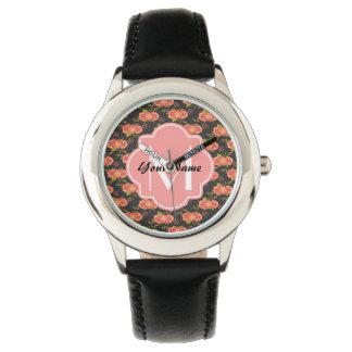 Vintage Floral Pattern Custom Monogram Watches