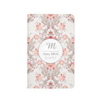 Vintage Floral Pattern damask Monogram Journal