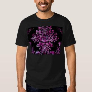 Vintage Floral Pattern Gift Black Pink Shirts