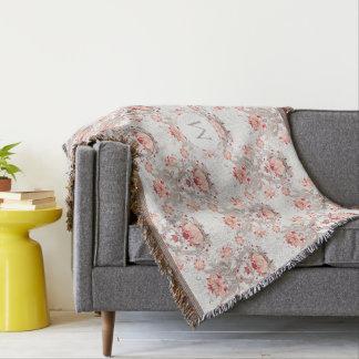 Vintage Floral Pattern Monogram T Blanket Throw Blanket