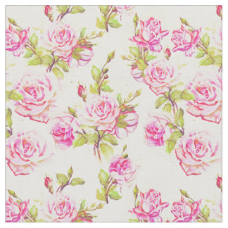 Vintage Floral Pattern Old Pink Roses Fabric