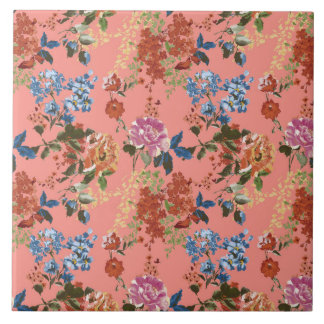 Vintage Floral Pattern on Coral Background Tiles