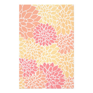 Vintage Floral Pattern Orange Red Dahlias Flowers Customized Stationery