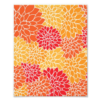 Vintage Floral Pattern Orange Red Dahlias Flowers Photo Print