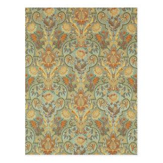 Vintage Floral Pattern Paisley Cyan Green Yellow Postcard