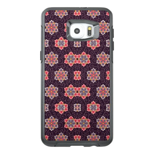 Vintage Floral Pattern Purple w/ Colourful Flowers