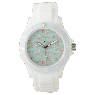 Vintage floral pattern roses blue shabby rose chic watch