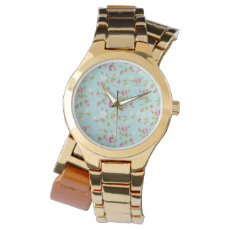 Vintage floral pattern roses blue shabby rose chic watches