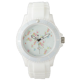 Vintage floral pattern roses pink shabby rose chic wrist watch