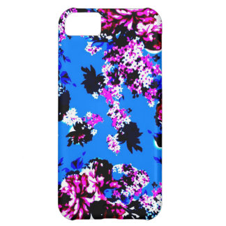 Vintage Floral Pattern Royal Blue and Pink Cover For iPhone 5C