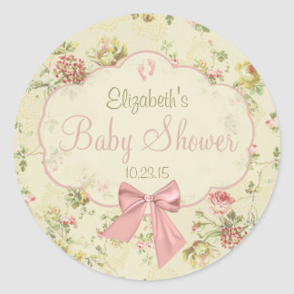 Vintage Floral Peach Bow Baby Shower Classic Round Sticker