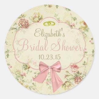 Vintage Floral Peach Bow Bridal Shower Round Sticker