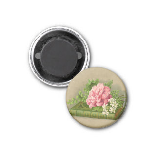 Vintage Floral Peony Classy Book Elegant 1 Inch Round Magnet