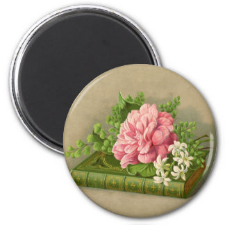 Vintage Floral Peony Classy Book Elegant 2 Inch Round Magnet