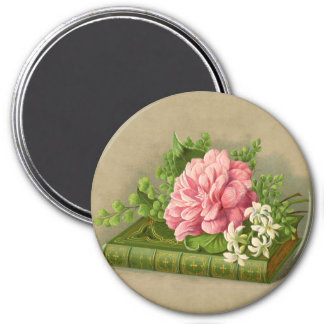 Vintage Floral Peony Classy Book Elegant 3 Inch Round Magnet