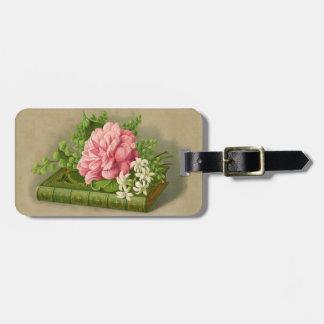 Vintage Floral Peony Classy Book Elegant Bag Tag