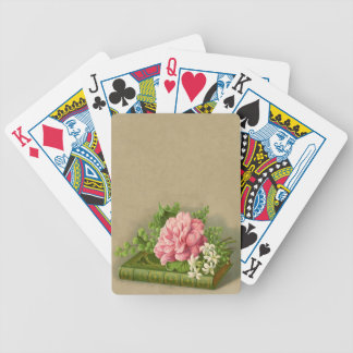 Vintage Floral Peony Classy Book Elegant Bicycle Playing Cards