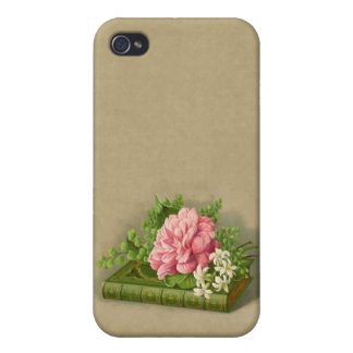 Vintage Floral Peony Classy Book Elegant Cases For iPhone 4