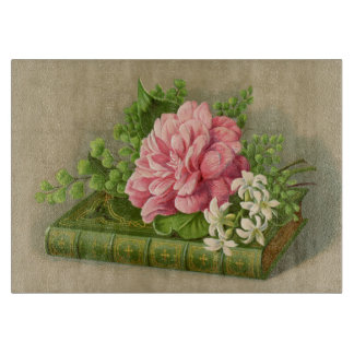 Vintage Floral Peony Classy Book Elegant Cutting Boards