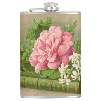 Vintage Floral Peony Classy Book Elegant Flask