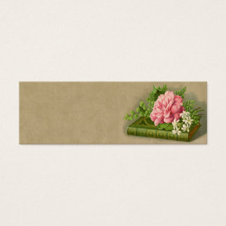 Vintage Floral Peony Classy Book Elegant Mini Business Card
